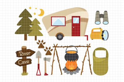 Camping Out -Digital Clipart (LES.CL69A)