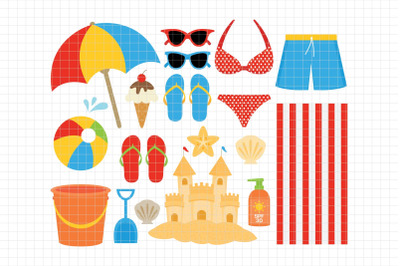 Beach-Digital Clipart (LES.CL70A)