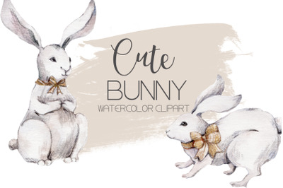 Watercolor clipart CUTE BUNNY