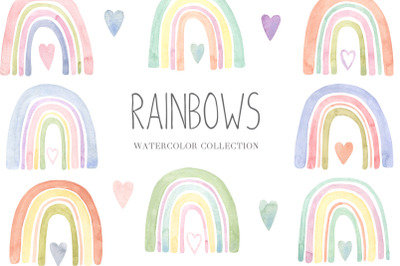 Watercolor Boho Rainbow Set and Seamless Patterns