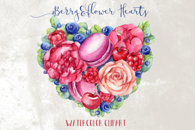Watercolor Flower&Berries Heart