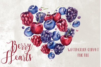 Watercolor Berry Heart Clipart