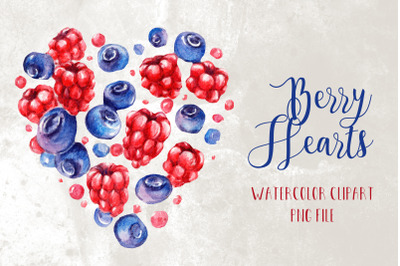 Watercolor Berry Heart