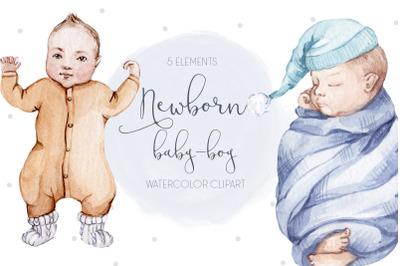 Watercolor Baby Boy Clip art