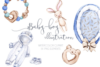 Watercolor Baby Boy Illustration