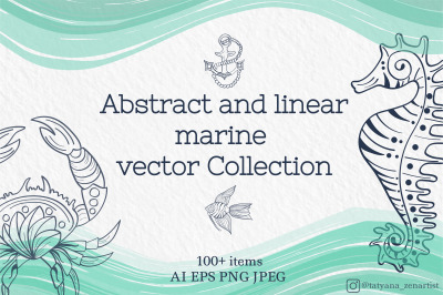 Abstract and linear marine vector Collection