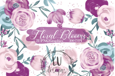 Burgundy and Pink Flowers Clipart, Floral Wedding Bouquets Graphics