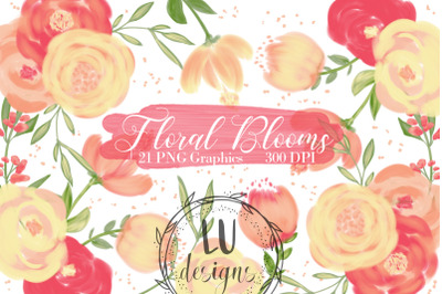 Orange Flowers Clipart, Spring Floral Wedding Graphics