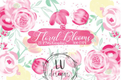 Spring Flowers Clipart, Pink Roses Wedding Floral Illustrations