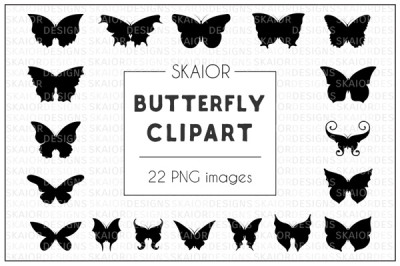 Black Butterfly Silhouette Clipart