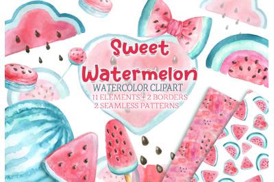 Watercolor watermelon clipart baby shower birthday pattern invitation