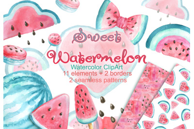Watercolor watermelon clipart baby shower birthday pattern invitation