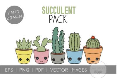 Kawaii Cactus and Succulent Bundle | Illustration | Vector
