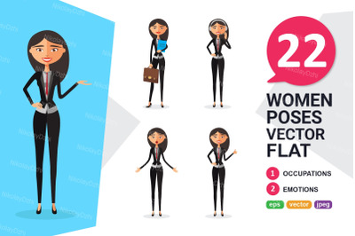 Asian Business woman Character flat collection