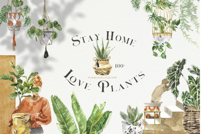 Stay Home & Love Plants Watercolor Collection