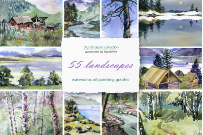 55 watercolor digital landscapes
