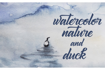 watercolor nature and landscape with a bird on the pond