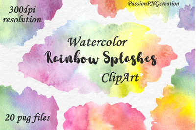 Watercolor Rainbow Splashes, Clouds, Clipart
