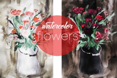 watercolor Botanical illustration of flowers, landscape