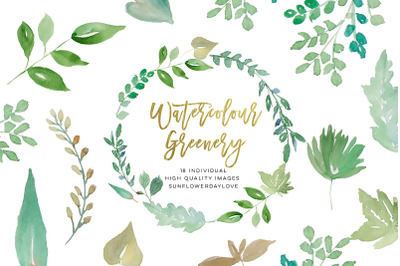 Watercolour Greenery Leaves Wreath clipart, Watercolour leaves clipart