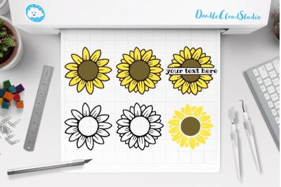 Sunflower SVG, Sunflower Monogram, Split Monogram,