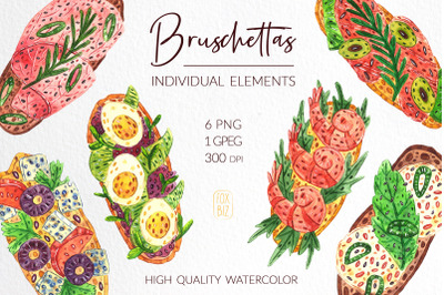 Bruschettas high quality watercolor clip art.