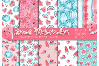 Watercolor Watermelon digital paper seamless pattern scrapbooking