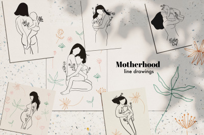 Mother's day- motherhood line drawing pack