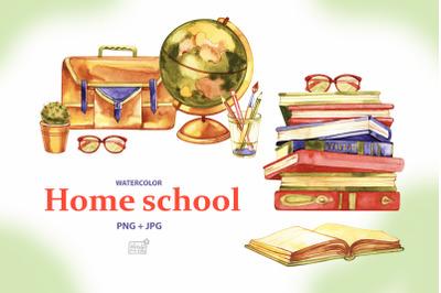 Watercolor home school cliparts