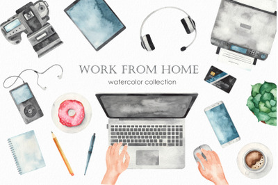 Work from home Watercolor collection