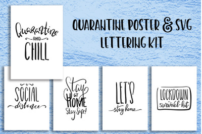 Quarantine Lettering Poster, SVG Cricut File. Stay At Home Typography