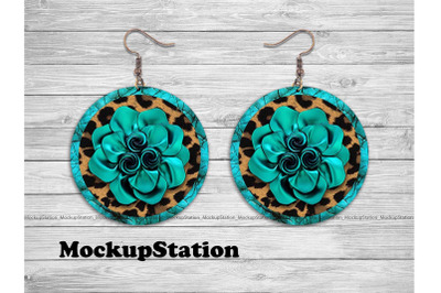 Leopard Turquoise Leather Look Round Earring Sublimation Design PNG