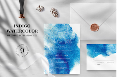 Indigo Watercolor Wedding Invitation Suite