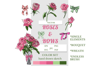 Blush roses and bows clipart. Hand drawn sketch.