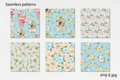 Hello Spring seamless patterns