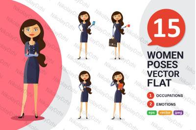 Business woman Character Cartoon flat vector