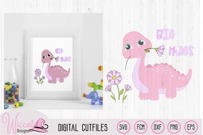 Girl baby dino, pink dinosaur svg