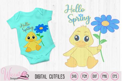 Hello spring baby boy duck,