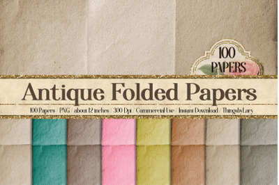 100 Antique Folded papyrus old paper decoupage Digital Papers