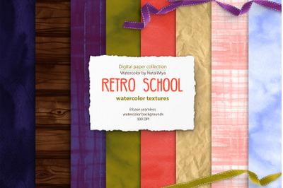Retro school seamless textures
