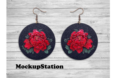 Rose Leather Look Round Earring Sublimation Design PNG