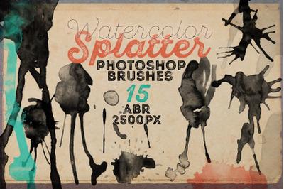 15 HQ Watercolor Splatter PS Brushes