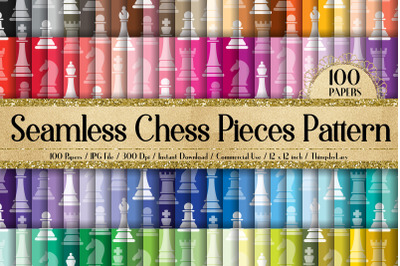 100 Seamless Chess Pieces Pattern Chess Board Digital Papers