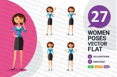 Business flat woman collection vector cartoon