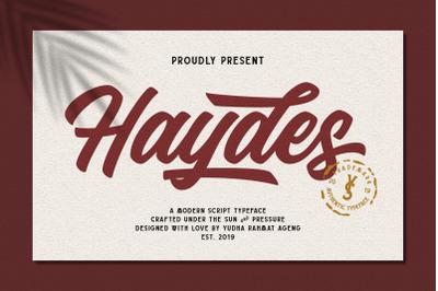 Haydes Script Font + Swash