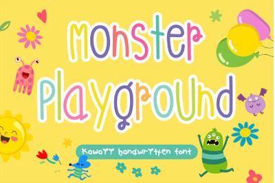 Monster Playground Handwritten- cute kid font Kawaii style!