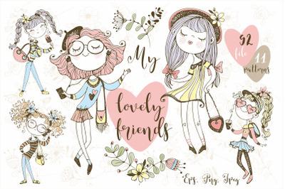 Cute Teen Girls Png. Digital clip art Png Eps
