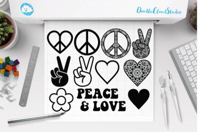 Peace Love Bundle SVG, Peace Symbol Svg, Peace Sign Mandala.