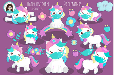 Unicorn with mask clipart