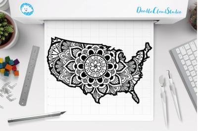 Usa Map Mandala SVG, United States Mandala SVG